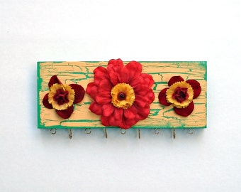 Necklace & Earring Organizer - Spring Red Yellow Flowers
