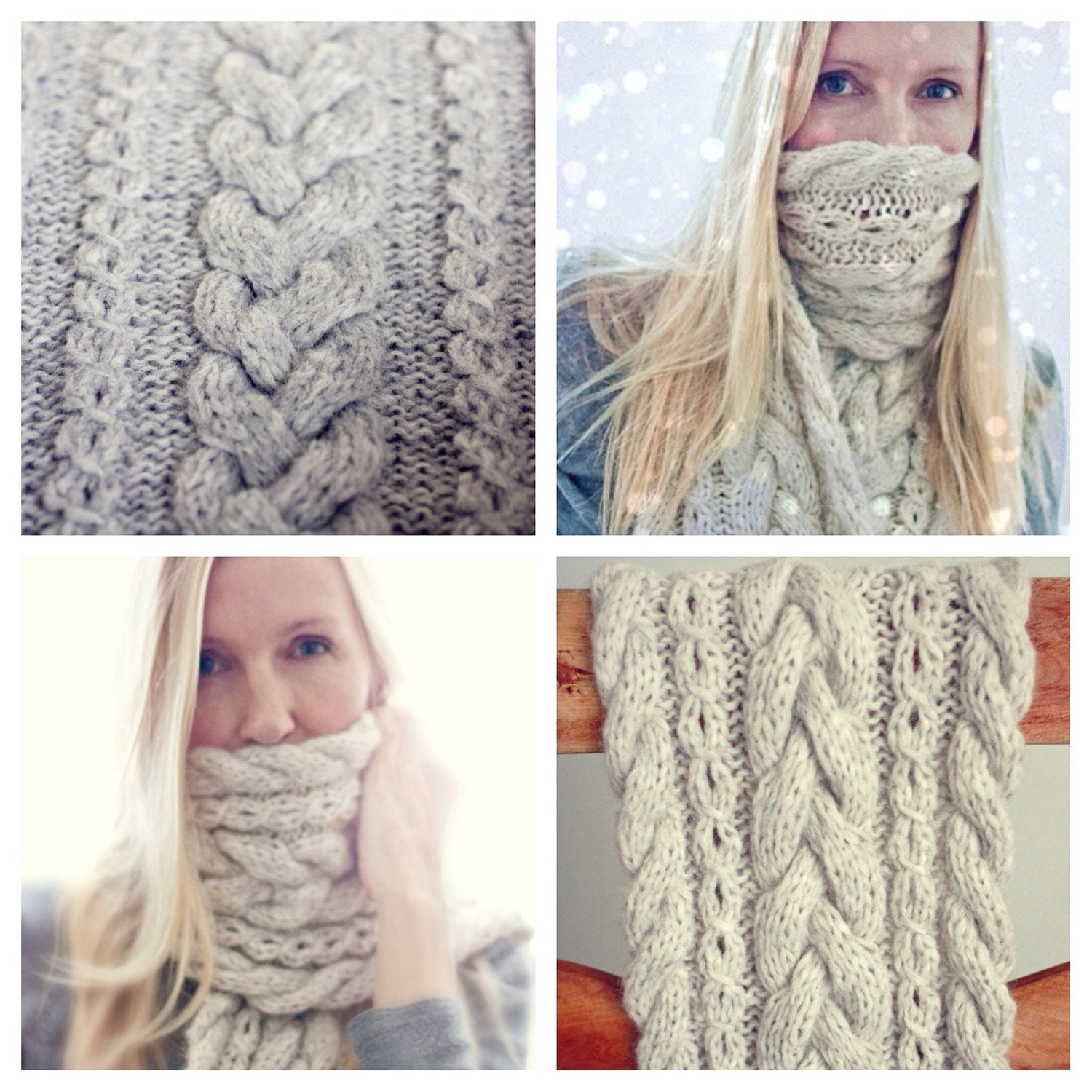 Cable Knit Infinity Scarf Knitting Pattern : Knitting Pattern Braided Infinity Scarf Cowl Cable Knit