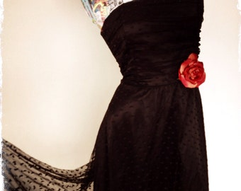 Black Lace Strapless Dress
