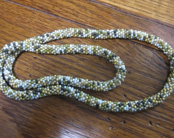 Hand Crochet Seed Bead Necklace 23 Inches Natural Colors