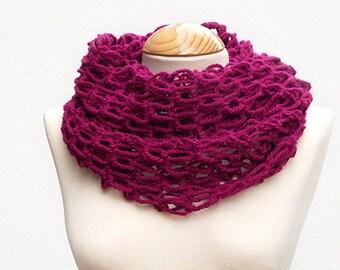 Fuchsia openwork snood scarf