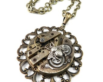 Steampunk Necklace, Extra Large Statement Necklace - Victorian Honey Bee, Steampunk Jewelry by Compass Rose Design