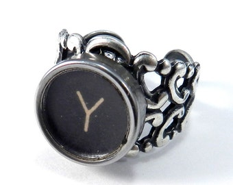 Typewriter Key RIng  - Steampunk Ring -  Letter Y Ring - Name Ring - Custom Initial Ring - Silver Adjustable Ring