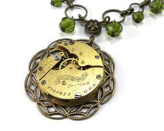 STEAMPUNK Wedding Necklace, ORNATE Special Occasion BRIDAL Clockwork Olive Green Crystal - Steampunk Jewelry by Compass Rose Design
