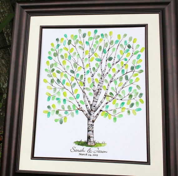 Personalized Thumbprint Tree Wedding Guest Book Alternative: Items Similar To Guest Book Alternative Wedding Tree Guest