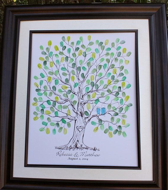 Personalized Thumbprint Tree Wedding Guest Book Alternative: Custom Wedding Guest Book Alternative Vintage Wedding Tree