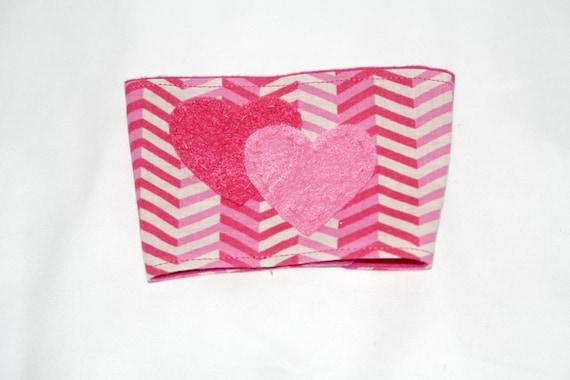 Coffee Cozy/Sleeve- Pink Hearts