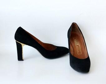 Vintage BALLY black pumps, suede leather black heels, black designer shoes 5.5B EU37