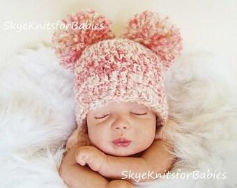 Baby Double Pom Pom Hat, Crochet Double Pom Pom Hat, Baby Pom Pom Beanie, Choose Any Color, Newborn Photography Prop