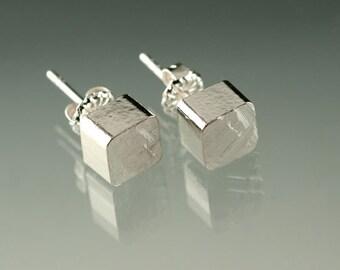 Little Silver Cube Stud Post Earrings, Small Silver Post Earrings, Sterling Silver post Earrings, Square Stud Earrings