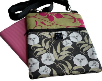 Green Gray Magenta Pink Flowers Amy Butler Fabric iPad Kindle Nook E Reader Hip Bag Purse Sling Crossbody Passport Travel Messenger Washable