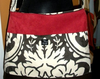 White Brown Red Damask Fabric Large Purse Hobo Toddler Tote Diaper Messenger Bag Cross Body