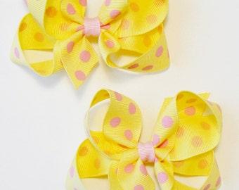 Girl's Polka Dot Hair Bow Set Medium Childrens Kids Boutique Fashion Hair Clip Hairbows (Set of 2) Hair Accessories (Choose Colors)
