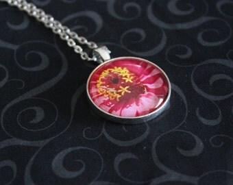 Pink Zinnia Photo Pendant