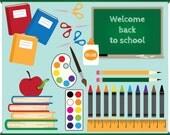 Back to School - Digital Clip Art - Instant Download - Books, Pencils, Art Stuff, Blackboard, Apple
