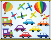 Digital Clip Art - Transportation - Instant Downloads - Hot Air Balloons, Planes, Cars, Trains, and Ship in Solid Colours