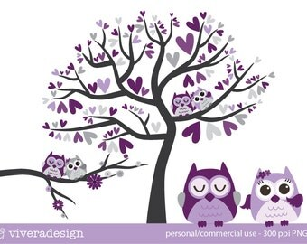 Owl Love Birds - in Purple, Lavender, and Grey - Digital Clip Art