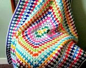 GRANNY SQUARE Blanket Vibrant Retro Crochet Afghan