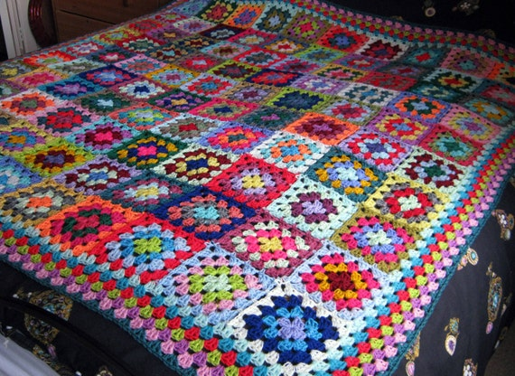 FLASH SALE 20% Off Large Crochet BLANKET Granny Squares 64 x 64