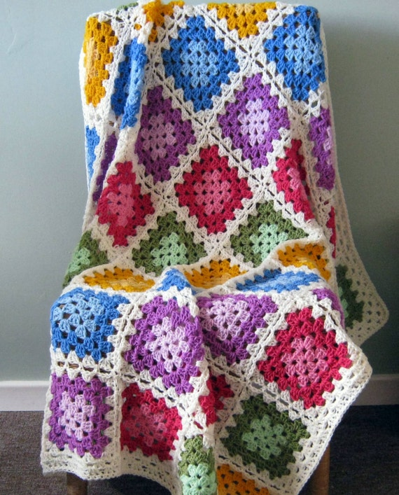 "GRANNY SQUARES Color Palette Crochet Afghan Blanket Throw 48"" x 48"""