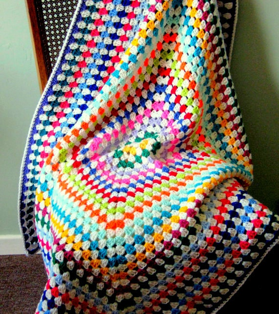 Joy Crochet Afghan Blanket Large Granny Square Bright Vibrant Retro