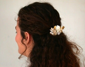 Wedding Hair Comb Floral Hair Comb  Maid Of Honor, Bridesmaids Gifts Something Old Something Blue Beach Wedding Summer Cream White Ivory