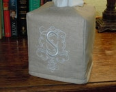 "Tissue Box Cover -  Made To Order - Monogrammed ""S""  Linen Tissue Cover Special Royal Monogram Lettering"