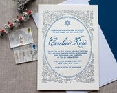 Star of David - Baptism, Christening, Bat Mitzvah, Naming Day Invitation (min. 50 qty)