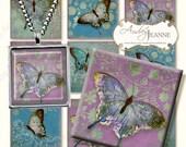 Butterfly Digital Modern magnet size Collage Sheet 1 inch squares AJR-14-05E5 watercolor vintage script postcard stamps ephemera