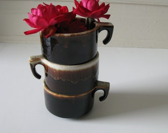 Pfaltzgraff Pottery USA Trio of Teacup Bowl Ramekins Brown Drip Ovenware Bakeware Oven Proof Cup