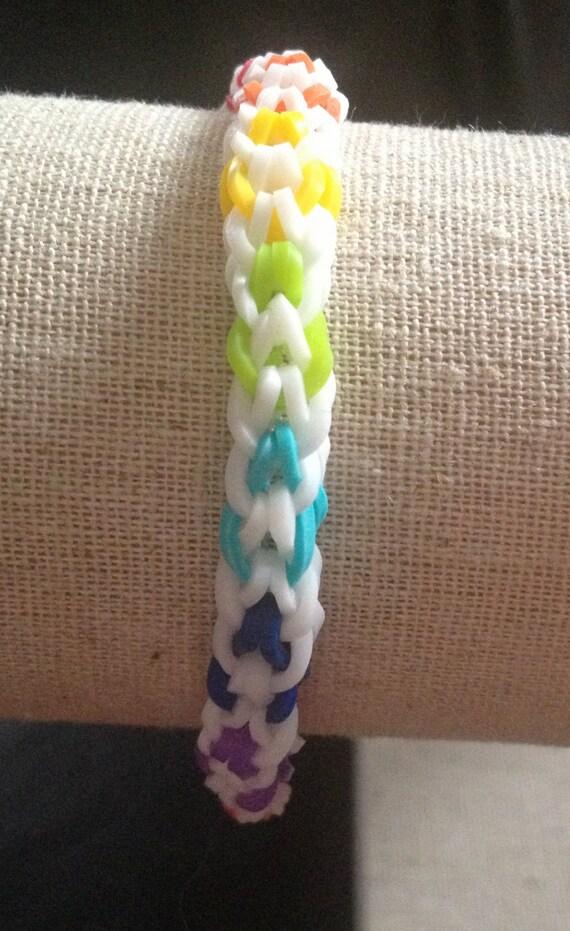rainbow loom inverted fishtail bracelet by hbtdesigns on etsy
