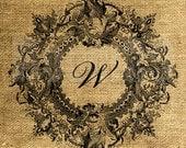 Vintage Wreath Framed Letter W - Download and Print - Image Transfer - Digital Sheet by Room29 - Sheet no. 094W