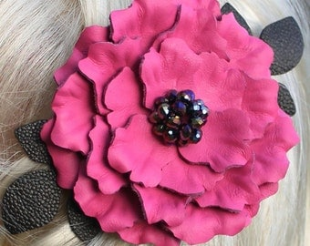 Leather flower barrette hot pink peony black leaves wedding fascinator leather french barrette with crystal beads prom wearable art
