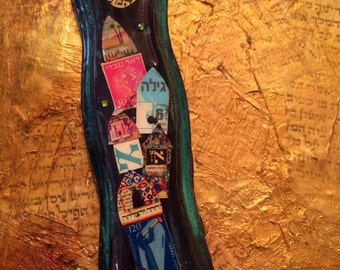 Shades of Navy Blue and Teal Collaged Mezuzah on Etsy