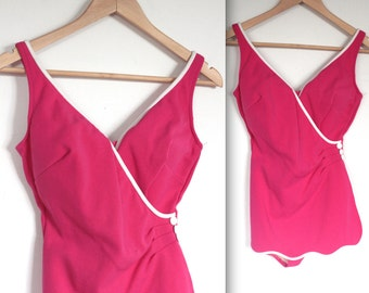 Vintage 1960's Swimsuit // 60s Fuchsia Pink Bathing Suit // Where The Boys Are