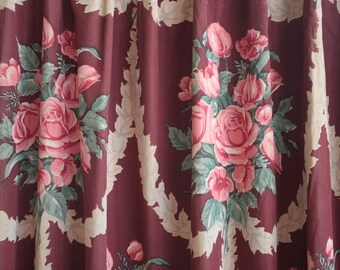 Vintage 1940s Curtain // 30s 40s Burgundy Curtain Panel with Edwardian Rose Bunch Print