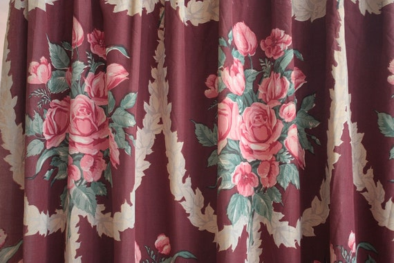 Vintage 1940s Curtain 30s 40s Burgundy Curtain Panel With