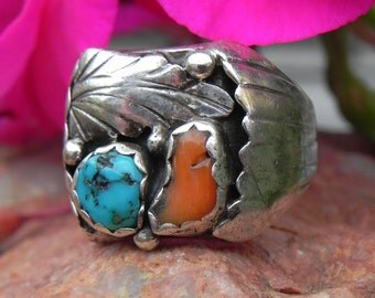 Native American Turquoise and Coral Sterling  Ring