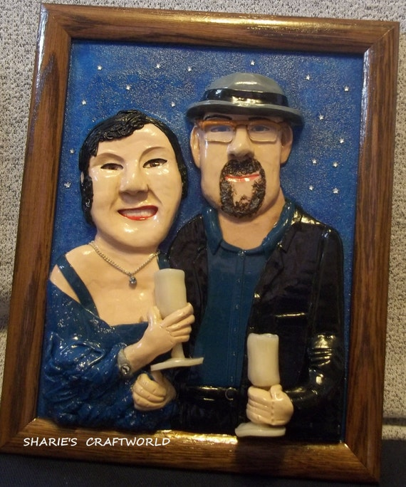 8x10 3D Clay Portrait of a Photograph, Photo, Picture, Digital, Art, Ceramic, Pottery, Figurine, Altered, Unique, Unusual, Gift for Her/Him
