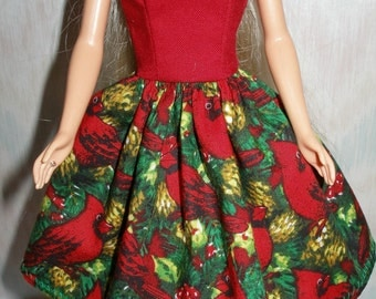 "Handmade 11.5"" fashion doll clothes - red and green  holiday dress"