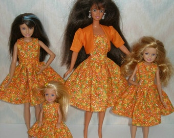 "Handmade Fashion doll clothes - 11.5"" fashion doll and sisters orange floral dress set"