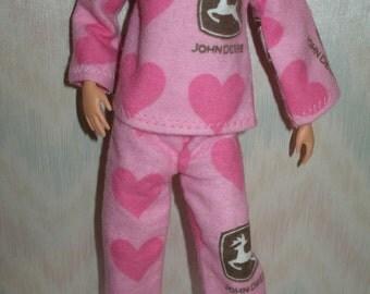 "Handmade 11.5"" fashion doll pajamas - pink heart print"