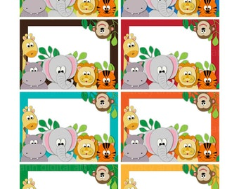 Jungle Animal Zoo  Printable Labels or Buffet Cards - Instant download