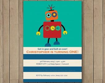 ROBOT Birthday Party Invitation, Printable, DIY, Boy Birthday, Robot Party, 1st Birthday