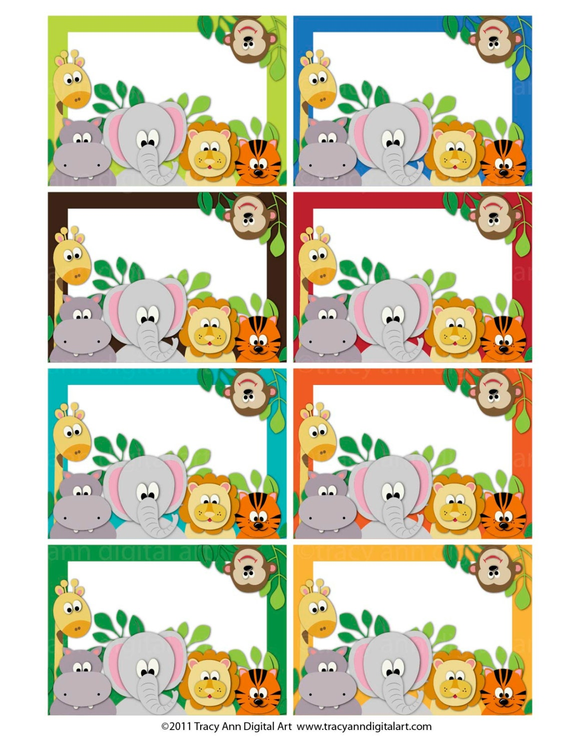 Jungle Animal Zoo Printable Labels Or Buffet Cards Instant