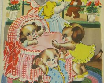 Vintage Ruth Newton Childrens Nursery Rhyme Book Print-Puppies Family-Book Plate