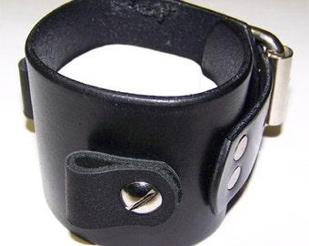 Item 102609 Classic Black Leather Watch Cuff