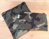 Reusable Zipper Sandwich & Snack Bags Eco Friendly Set of 2 Camo Camouflage colorful Print sku1003