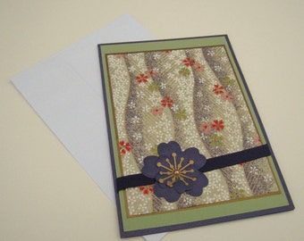 Washi Paper Customizable Greeting Card Purple Green and Gold Floral Blank Inside- You Choose Sentiment on Front