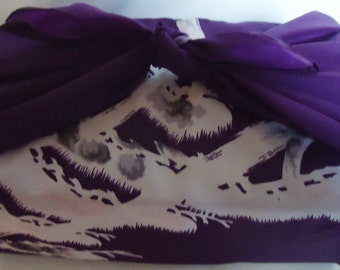 Japanese Purple Fabric Furoshiki.100% Eco Friendly.60s.n6
